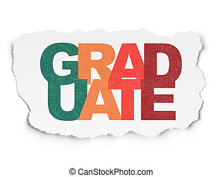 Education concept: Graduate on Torn Paper background