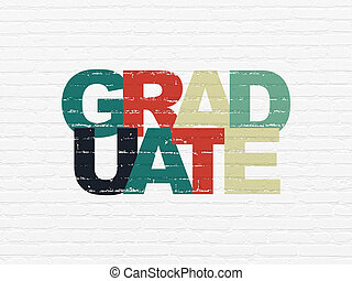Education concept: Graduate on wall background