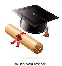 Graduation Cap and Diploma - Education concept - Graduation...
