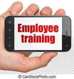 Education concept: Hand Holding Smartphone with Employee Training on display
