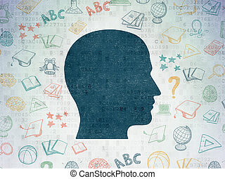 Education concept: Head on Digital Data Paper background