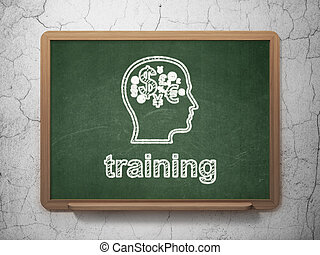 Education concept: Head With Finance Symbol and Training on chalkboard background