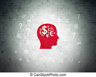 Education concept: Head With Finance Symbol on Digital Data Paper background