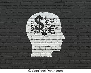 Education concept: Head With Finance Symbol on wall background
