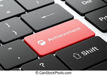 Education concept: Head With Gears and Achievement on computer keyboard background