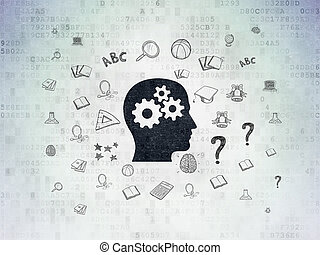 Education concept: Head With Gears on Digital Data Paper background