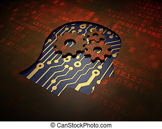 Education concept: Head With Gears on digital screen background