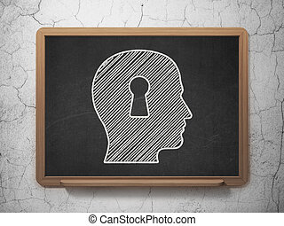 Education concept: Head With Keyhole on chalkboard background