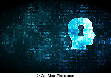 Education concept: Head With Keyhole on digital background -...