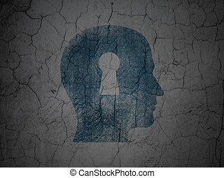 Education concept: Head With Keyhole on grunge wall background