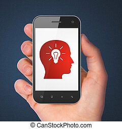 Education concept: Head With Light Bulb on smartphone