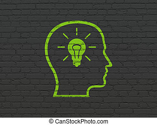 Education concept: Head With Lightbulb on wall background