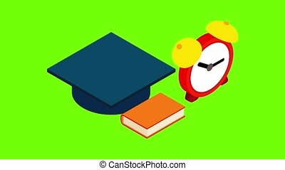 Education concept icon animation cartoon best object on green screen background