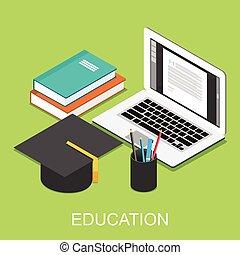 Education concept illustration. Isometric 3d flat design.
