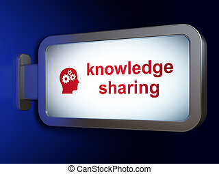Education concept: Knowledge Sharing and Head With Gears on billboard background