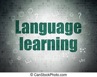 Education concept: Language Learning on Digital Data Paper background