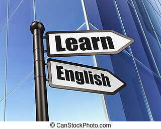 Education concept: Learn English on Building background