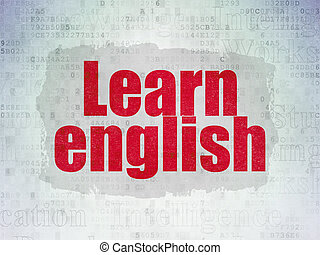 Education concept: Learn English on Digital Data Paper background