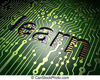 Education concept: Learn on circuit board background