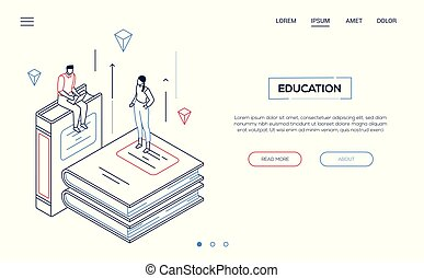 Education concept - line design style isometric web banner