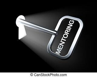 Education concept: Mentoring on key in keyhole, 3d render