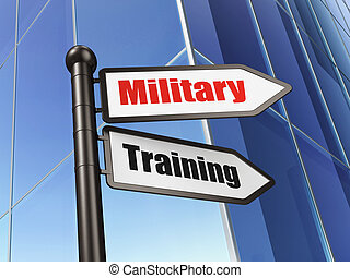 Education concept: Military Training on Building background