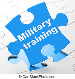 Education concept: Military Training on puzzle background