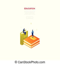 Education concept - modern isometric vector web banner