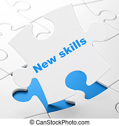 Education concept: New Skills on puzzle background - ...