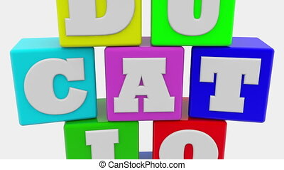 Education concept on colorful toy cubes