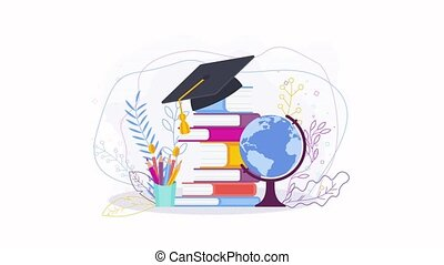 Education concept on white background. Graduate cap on a stack of books.