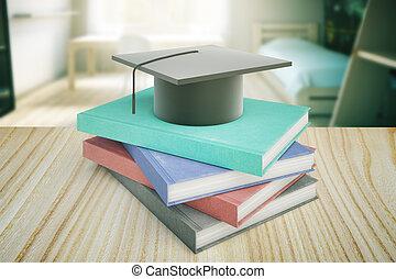 Education concept on wooden desk - Books and graduation cap...