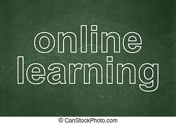 Education concept: Online Learning on chalkboard background