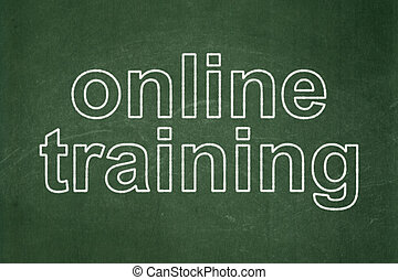 Education concept: Online Training on chalkboard background