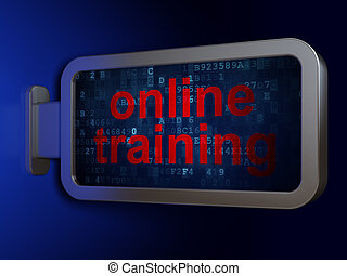 Education concept: Online Training on billboard background