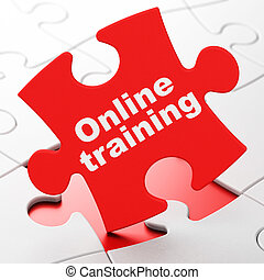 Education concept: Online Training on puzzle background -...