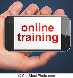 Education concept: Online Training on smartphone - Education...
