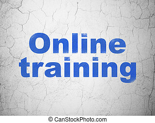Education concept: Online Training on wall background