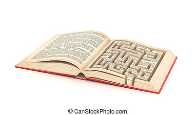 Education concept. Open book with maze in page. Isolation on a white background. 3d illustration