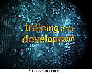 Education concept: pixelated words Training and Development on digital background, 3d render