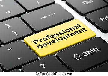 Education concept: Professional Development on computer keyboard background