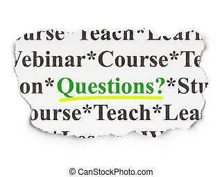 Education concept: Questions? on Paper background