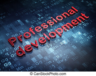 Education concept: Red Professional Development on digital background