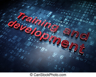 Education concept: Red Training and Development on digital background