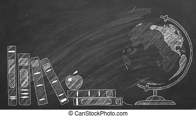 Rotating globe and school books are drawn with chalk on a blackboard.