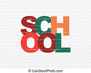Education concept: School on wall background
