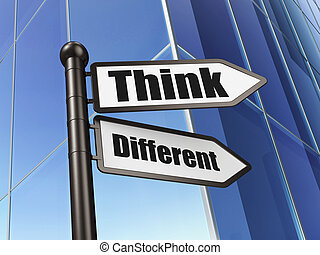 Education concept: sign Think Different on Building background