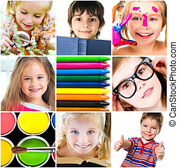 Education concept. Group of a carefree children