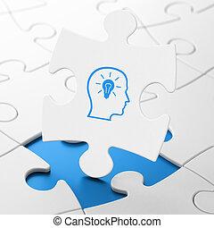 education, concept:, tête, à, lightbulb, sur, puzzle, fond
