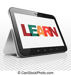 Education concept: Tablet Computer with Learn on  display